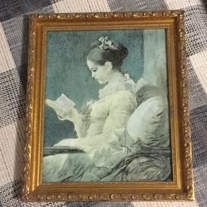 Lady Reader Gold Framed Wall Decor